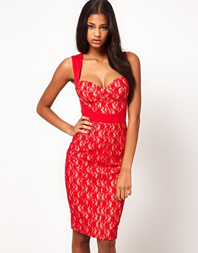 ASOS Sexy Midi Pencil with Lace Insert