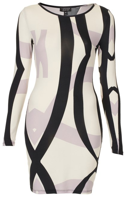 GEO STRIPE BODYCON DRESS