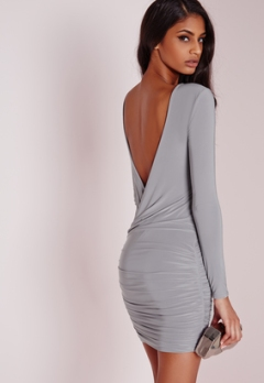 slinky-drape-back-ruched-body-dress